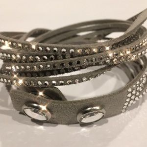 NWOT Silver Swarovski Crystal Suede Wrap Bracelet